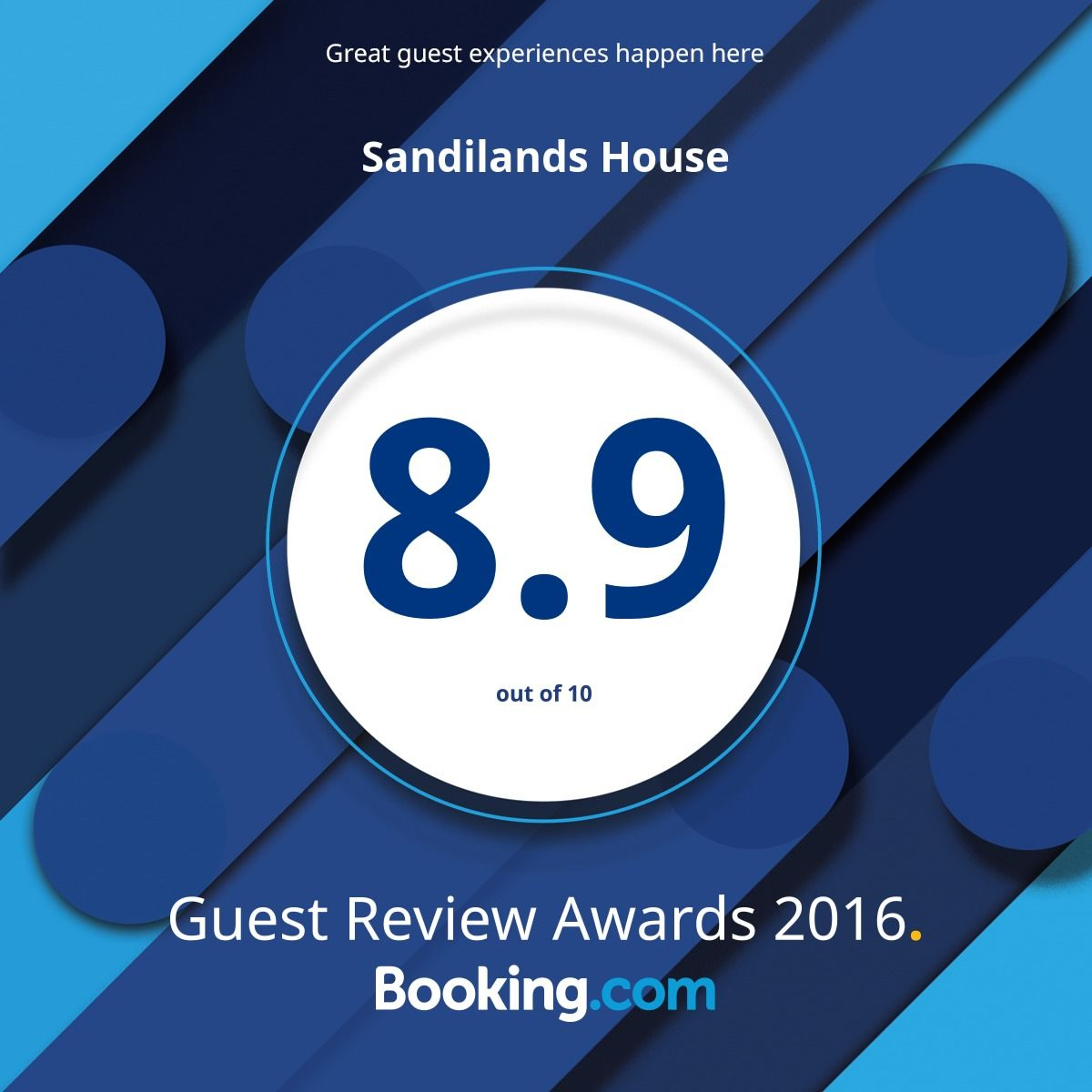 Booking.com 8.9 guest award rating